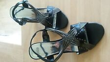 Lovely size 5.5 M&S black, silver/pewter strappy stiletto sandals. NEW. Party.