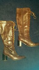 PAVERS BROWN LEATHER LACE UP BOOTS SIZE 4
