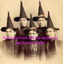 Old VINTAGE Antique BLACK WITCH FAMILY Photo REPRINT