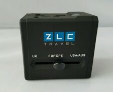 ZLC Travel Compact AC Universal Power Adapter Dual Fuse Dual USB Ports Black