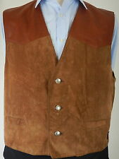 Reflex Style Union Mens Brown Leather And Suede Waistcoat Vest Size 44