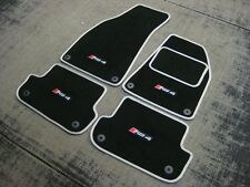 Black/Silver Car Mats to fit Audi RS4 B7 (2006-2008) + RS4 Logos (x4) + Fixings