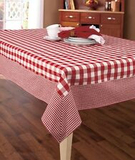 "Burgundy Country Gingham Check Cotton Tablecloth 52""X70"" Kitchen Table Decor"