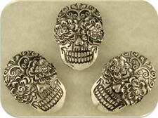 "2 Hole Beads Sugar Skulls Ornate ""Day of the Dead"" Silver Metal ~ Sliders QTY 3"