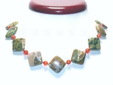 AAA RHYOLITH Karo quadratisch + Roter Achat 925 Kette 20mm Collier 60cm LANG