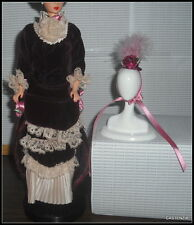 DRESS HAT  BARBIE VICTORIAN LADY DOLL VELVET BURGUNDY GOWN LACE TRIM PINK ROSES