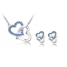 Swarovski Elements Jewelry Set Blue Sapphire Heart Pendant Necklace Earrings