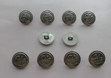 Silver Anchor Embossed Buttons  ( Plastic or Light Alloy ) 1.8cm x 10