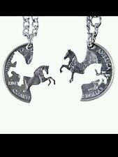 HIS HERS HORSE CUT COIN  INTERLOCKING COUPLES NECKLACES 2 PC SET
