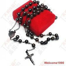 ICE 6mm Ball Jesus Cross Rosary chain Necklace 316L Stainless steel Jewelry Pick