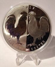 2017 Tokelau $5 1 oz. Proof Silver Lunar Year Rooster - Mirror Roosters