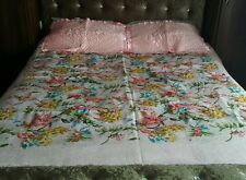 """Pink Woven Reversible Sheet Blanket Throw 80""""x80"""" 2 pillow cases Silk Floral"""