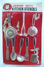 VINTAGE 1950'S PLAY KITCHEN JR. MISS KITCHEN UTENSILS NEW ON CARD JAPAN LOOK