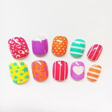 20pcs Candy Color Stars Stripe Press On Nails Full Cover Artificial Finger nails