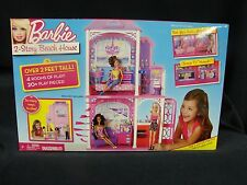 2011 Mattel Barbie 2 Story beach House over 2 Feet Tall 4 Rooms to play 20 pcs