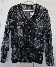 SHEER BLACK PRINT BLOUSE BY DELICIA, SZ L (NWT)