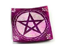 Purple Soapstone Incense Holder With Carved Pentagram (Z63)