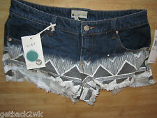 NEW ROXY 5 27 Jean SHORTS DENIM PANTS BOTTOMS Suntoucher Blue Black $65 Retail