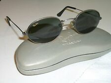 1980's VINTAGE BAUSCH & LOMB RAY BANs G15 UV GUNMETAL OVAL AVIATORS SUNGLASSES