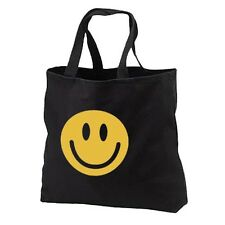 Retro Smiley Face New Black Cotton Tote Bag, Throwback, Parties, Gifts