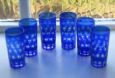 6 x Bohemian Cobalt Blue Cut to Clear Glass Tumblers 14cm high