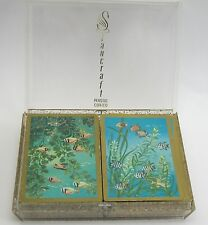 Vintage 2 Decks Nu-Vue Playing Cards Gold Fish Stancraft Glitter Case