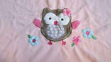 Garanimals Pink fleece baby girl blanket brown purple owl applique & Flowers