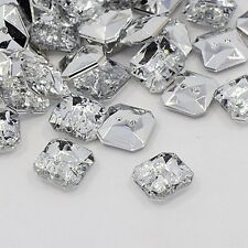 20 BOUTONS FANTAISIES STRASS TRANSPARENT 11 mm FORME CARRE - 2 TROUS 1 mm