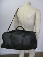 BRIGGS & RILEY Black Leather Duffel Bag Carry On With Strap 20.5 X 14 X 9