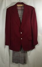 Vtg Burgundy Plaid Suit Jacket Pants Anchorman Shirt Arnold Palmer Original Red