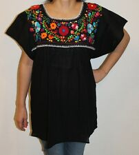 Black Peasant Boho 100% Gauze Cotton Mexican Embroidered Blouse Top Small