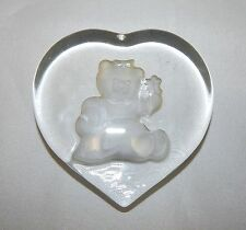 Nybro Glass Sweden Girl Teddy Bear Paperweight