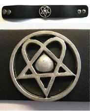 "HIM ARMBAND / LEDERARMBAND / LEATHER CONCHO WRISTBAND ""HEARTAGRAM"""