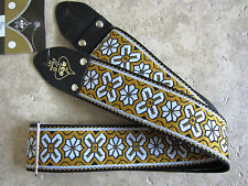 D'Andrea ACE VINTAGE REISSUE Guitar Strap GREENWICH Yellow White Woven Hippie