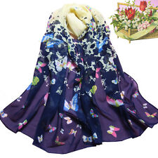 Women Butterfly Printed Flower Soft Muffler Chiffon Scarf Wrap Shawl