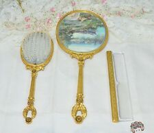 Matson Vintage Ormolu Flower Vanity Set Hand Mirror / Brush / Comb