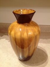 """Vintage Large Vase Blue Mountain Pottery BMP Canada 13"""" Tall Drip Glaze Yellow"""