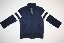 Boy's Size 3T NAUTICA Zip Front Navy Blue Lined SWEATER Coat