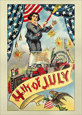 REPRINT PICTURE of old postcard 4TH OF JULY B boy with fireworks flags eagle 5x7
