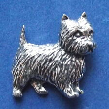 Pewter Cairn Terrier  Dog Brooch Pin  Signed