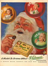 1947 vintage Christmas Ad WHITMAN'S SAMPLER CANDY  Santa Clause Gift  (103014) )
