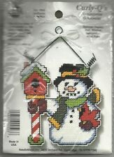 SNOWMAN & BIRD HOUSE NEEDLEPOINT ORNAMENT  KIT-- NEW IN PK