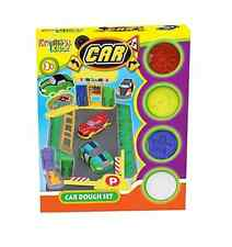 Childrens Car Play Dough Set With Moulds Coloured Doh Tubs & Moulding Tool TY382