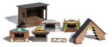 NEW HO Busch 1183 German Christmas Market Fair Booths ,Stage & More KIT Diorama