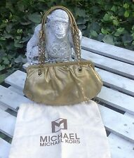 MICHAEL KORS Gold Pebble Leather and Gold Chain Sm Med.Handbag Purse