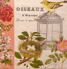 French Bird Cage Botanical Music Script Shabby Vintage Chic Picture Plaque