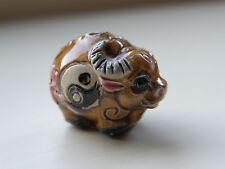 Porcelaine Ox perles, marron/multicolore avec Yin Yang Symbole 22 mm x 15 mm