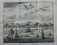 Original antique print ISLE OF AMBOINA, AMBON, INDONESIA Nieuhof, Churchill 1744