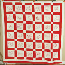 CLASSIC Vintage 20's Redwork Red & White Antique Quilt ~Animals Birds & Flowers!