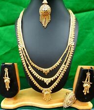 22K Gold Plate Indian Fashion Wedding Necklace Earrings Tikka Set f
